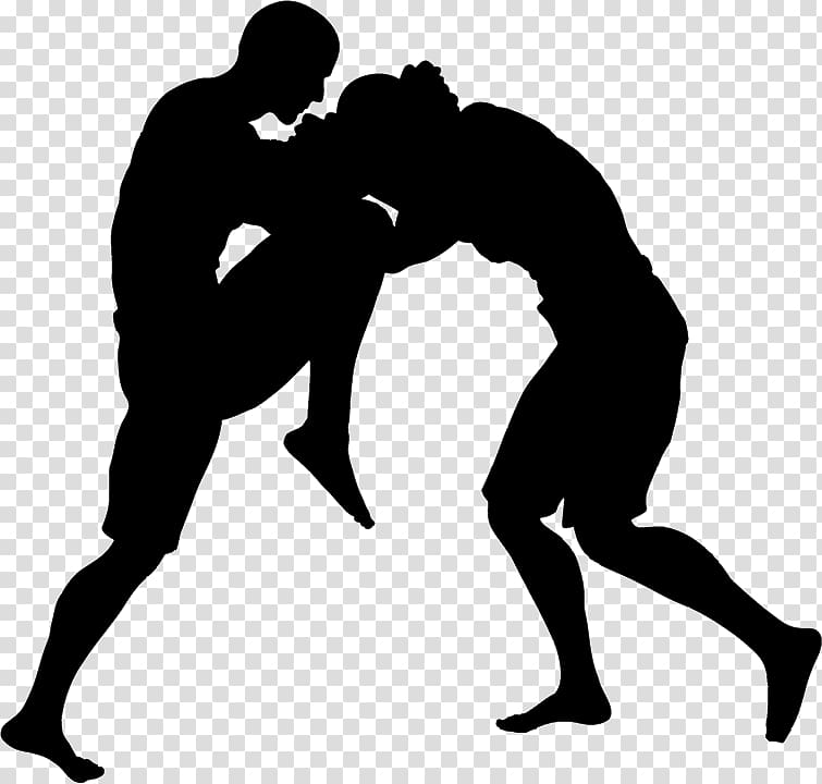 Silhouette of two men fighting each other illustration, Muay.