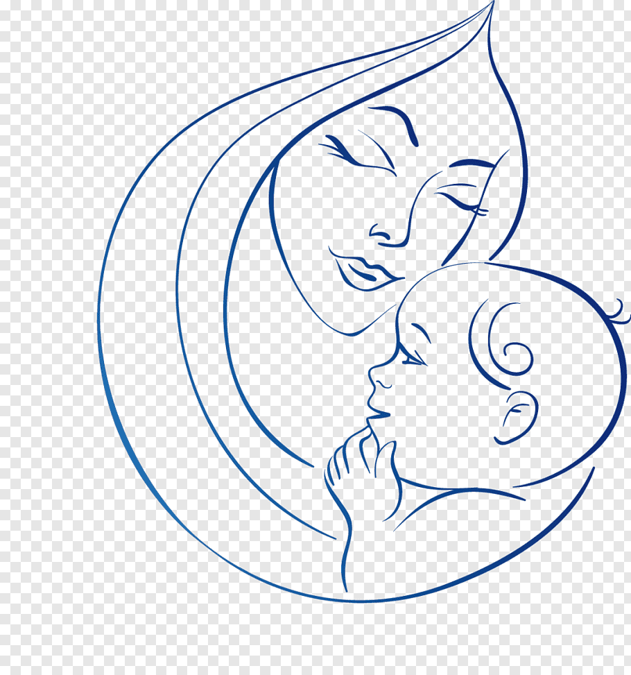 Woman carrying baby illustration, Drawing Mother Line art.