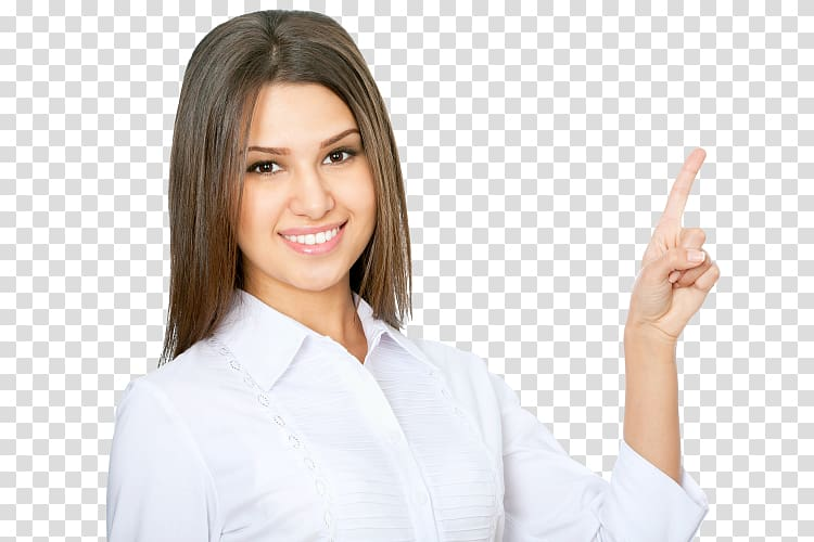 Woman pointing with her left index finger, Businessperson.