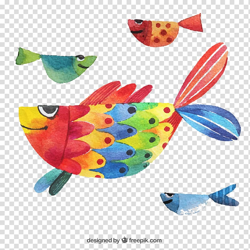 Watercolor painting Poster Illustration, Hand colored fish.