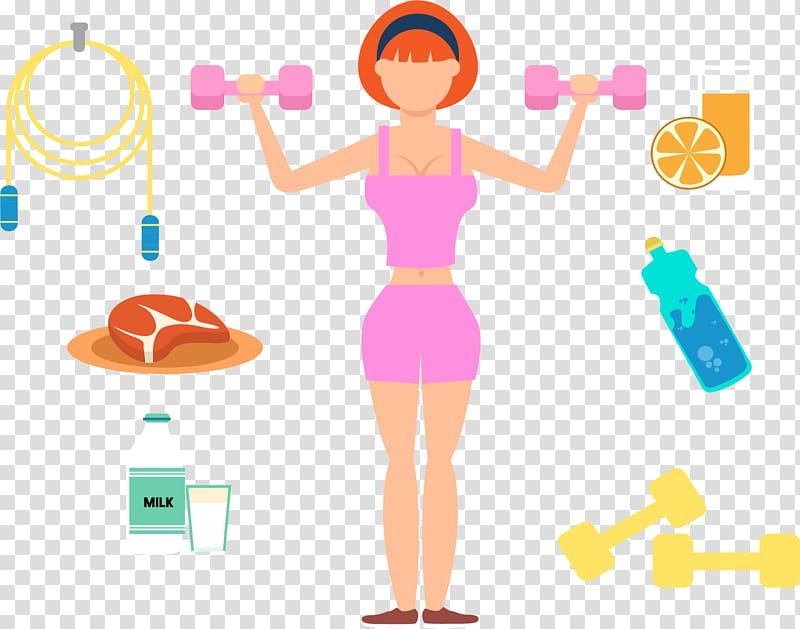 Woman holding dumbbells illustration, Physical exercise.