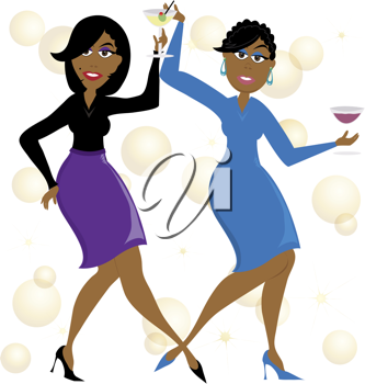 Clip art illustration of a cartoon of African American women.