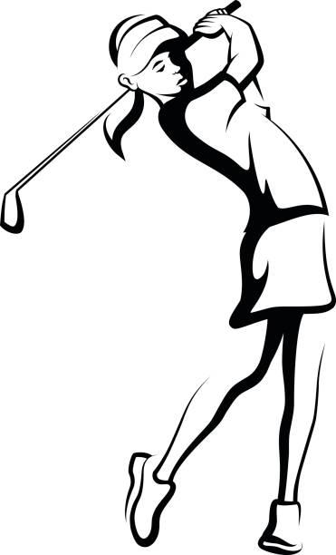 Woman Golfer Clipart.