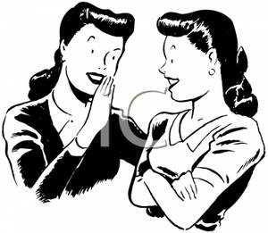 A Black and White Cartoon of Two Women Gossiping.