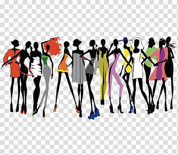 Group of woman , Fashion show Runway , A group of beautiful.