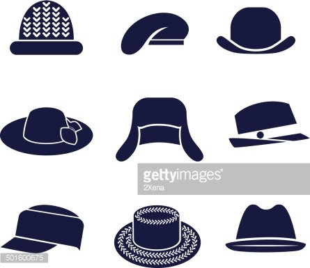 Different types of women\'s hats Clipart Image.