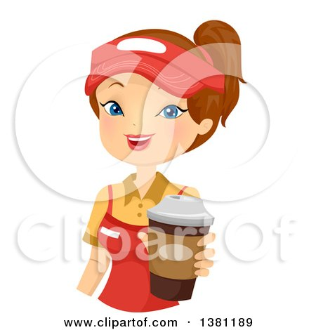 Clipart Picture of a Sexy And Busty Blond Pinup Waitress Woman In.