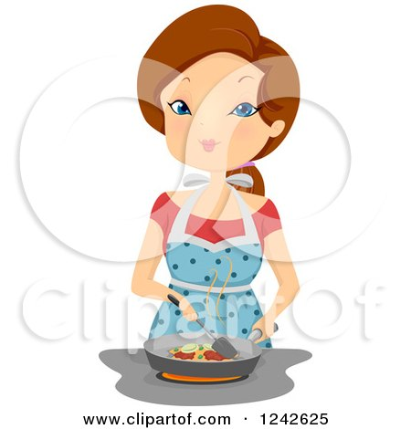 Clipart Sexy Cooking Brunette Woman Holding A Frying Pan.