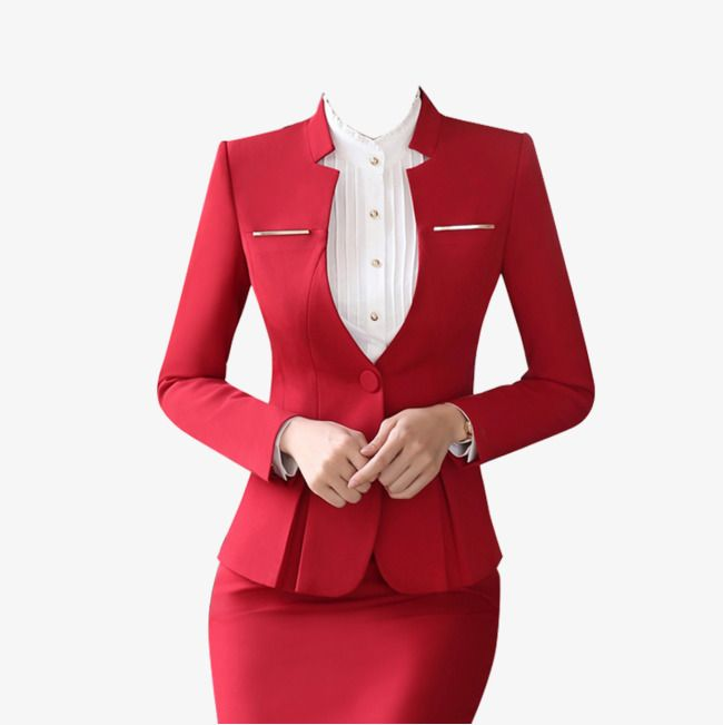Red Low Collar Professional Women Suit Skirt Suit in 2019.