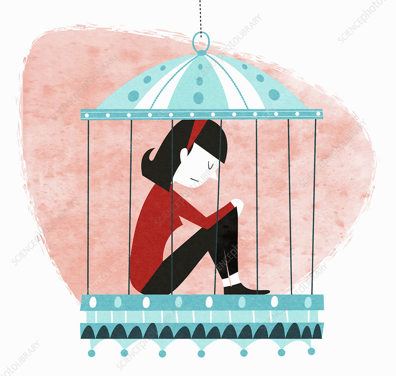 Unhappy woman sitting in birdcage, illustration.
