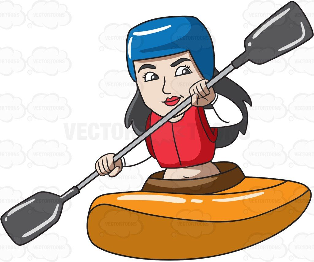 A woman enjoying her time in a kayak boat #cartoon #clipart.
