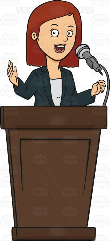 Woman Standing Behind A Podium Giving A Lecture #address.