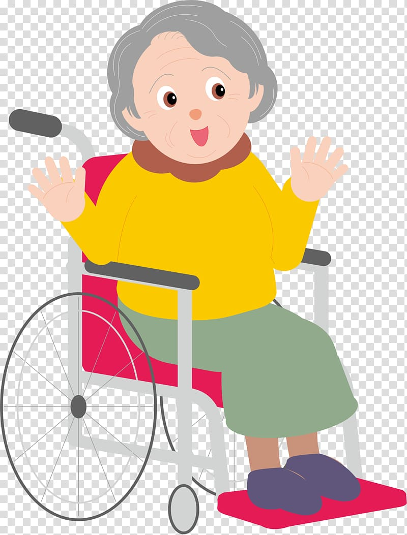 Woman on brown wheelchair art, Cartoon Old age, The old man.