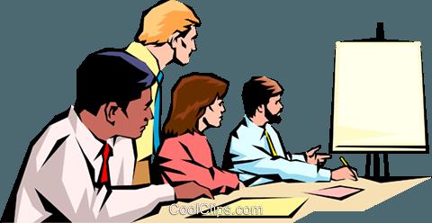 Men & women meeting Royalty Free Vector Clip Art illustration.