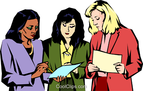 Women meeting Royalty Free Vector Clip Art illustration.