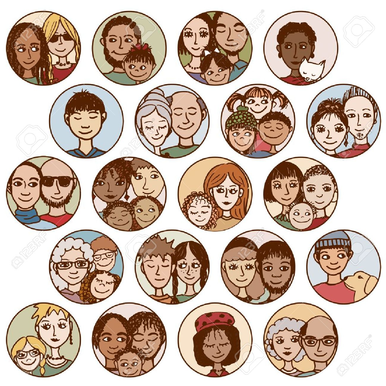 Multicultural Friends Clipart.