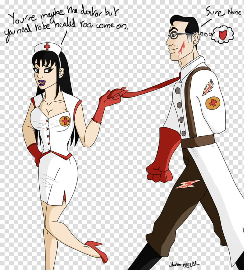 Even medic needs to be healed, man and woman walking art.