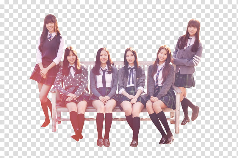 GFRIEND, six women sitting on brown bench transparent.