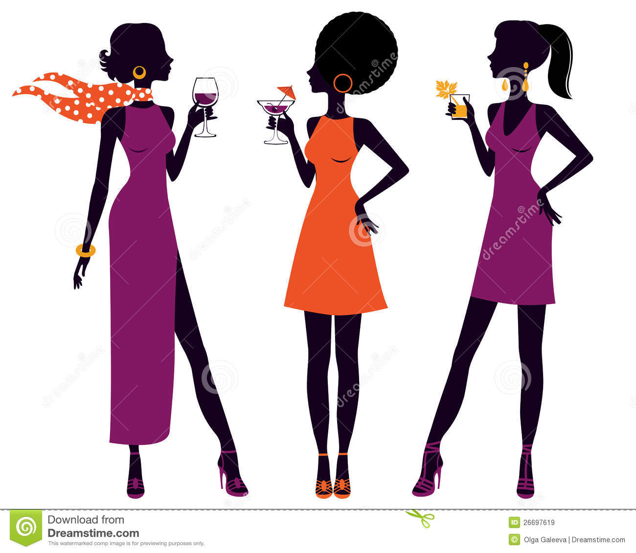 Pretty Women At Cocktail Party Stock Vector.