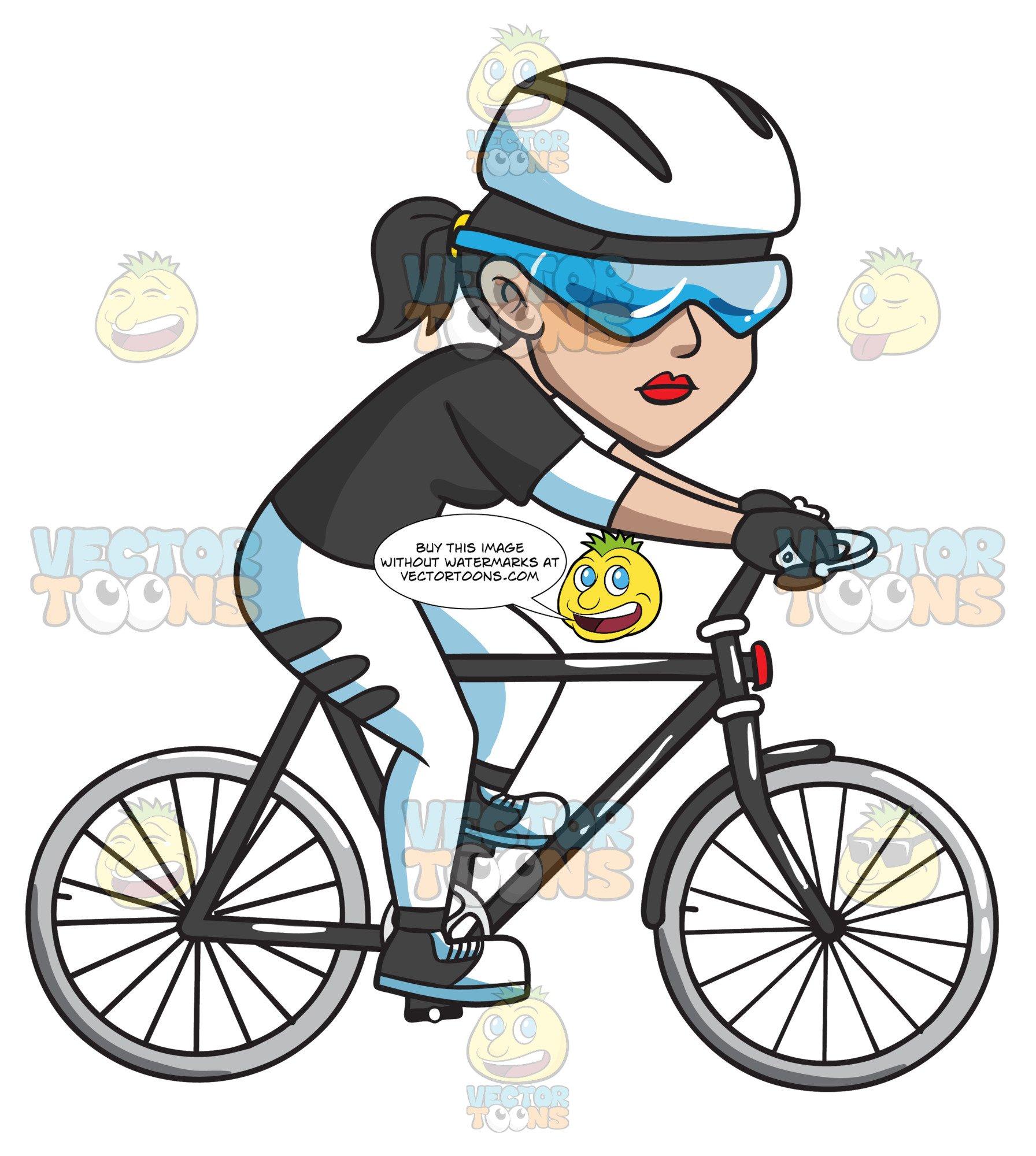 A Woman Riding A Sleek Bike.