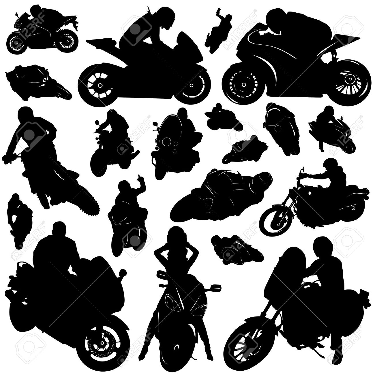 Free Woman On Motorcycle Silhouette, Download Free Clip Art.