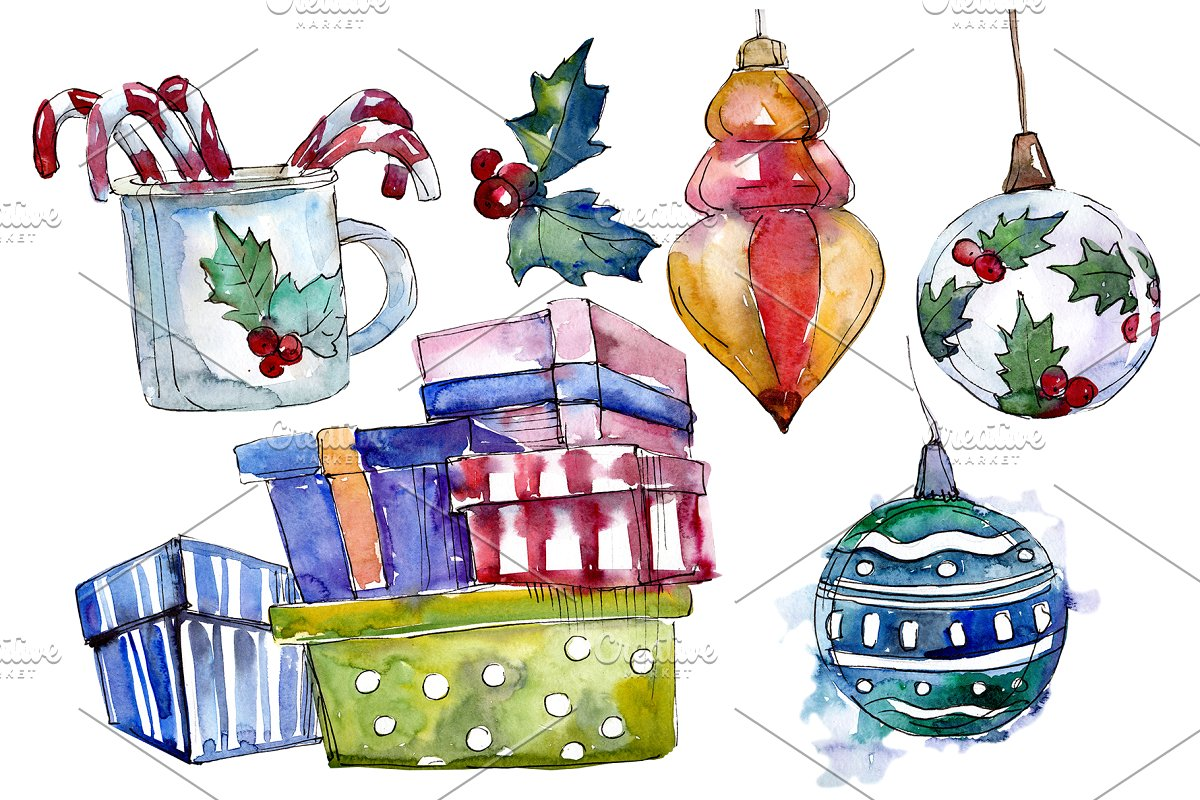 Christmas tea drinking watercolor.