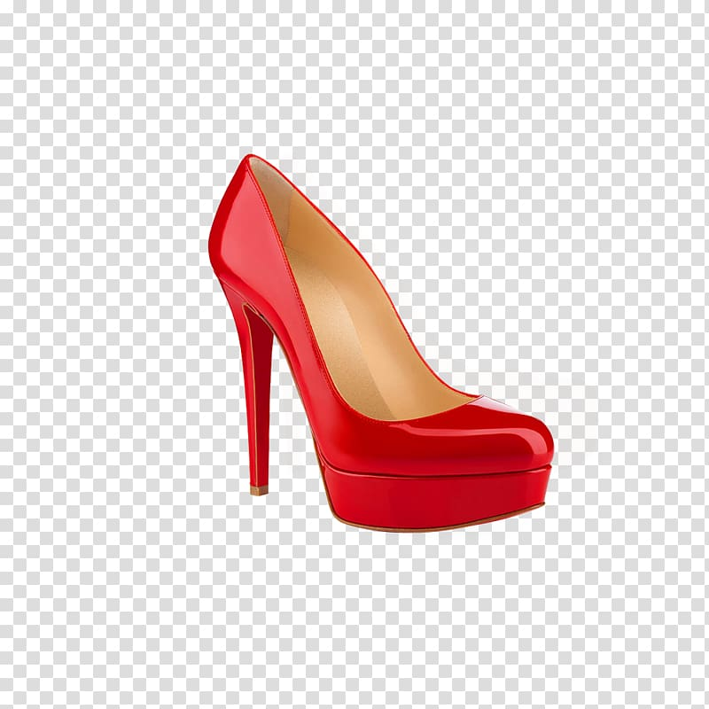 Unpaired women\'s red platform stiletto, High.