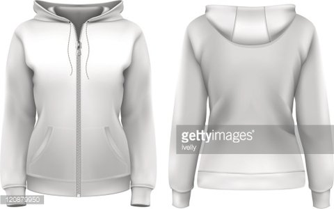 Women\'s hoodie (front and back design) Clipart Image.