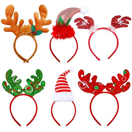 Tin Field Santa Hats (6 Pack), Christmas Party Hats Christmas Reindeer  Costume Headbands for Christmas Holiday Party.