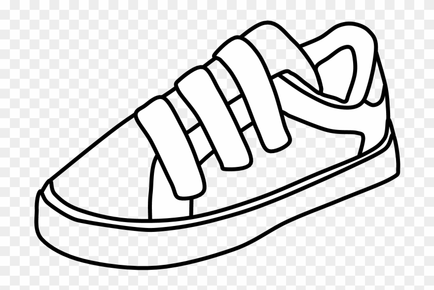 Sneakers, Velcro, Black And White, Png.