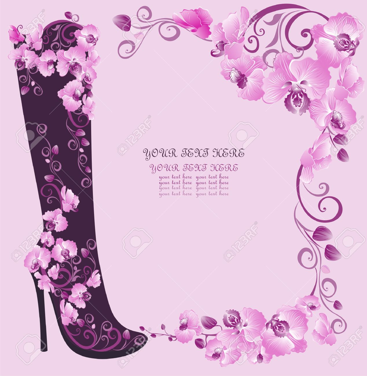 Stiletto High Heels With Orchids Royalty Free Cliparts, Vectors.