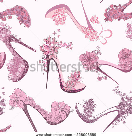 Shoes On High Heel Decorated Butterflies Stock Vector 89221645.