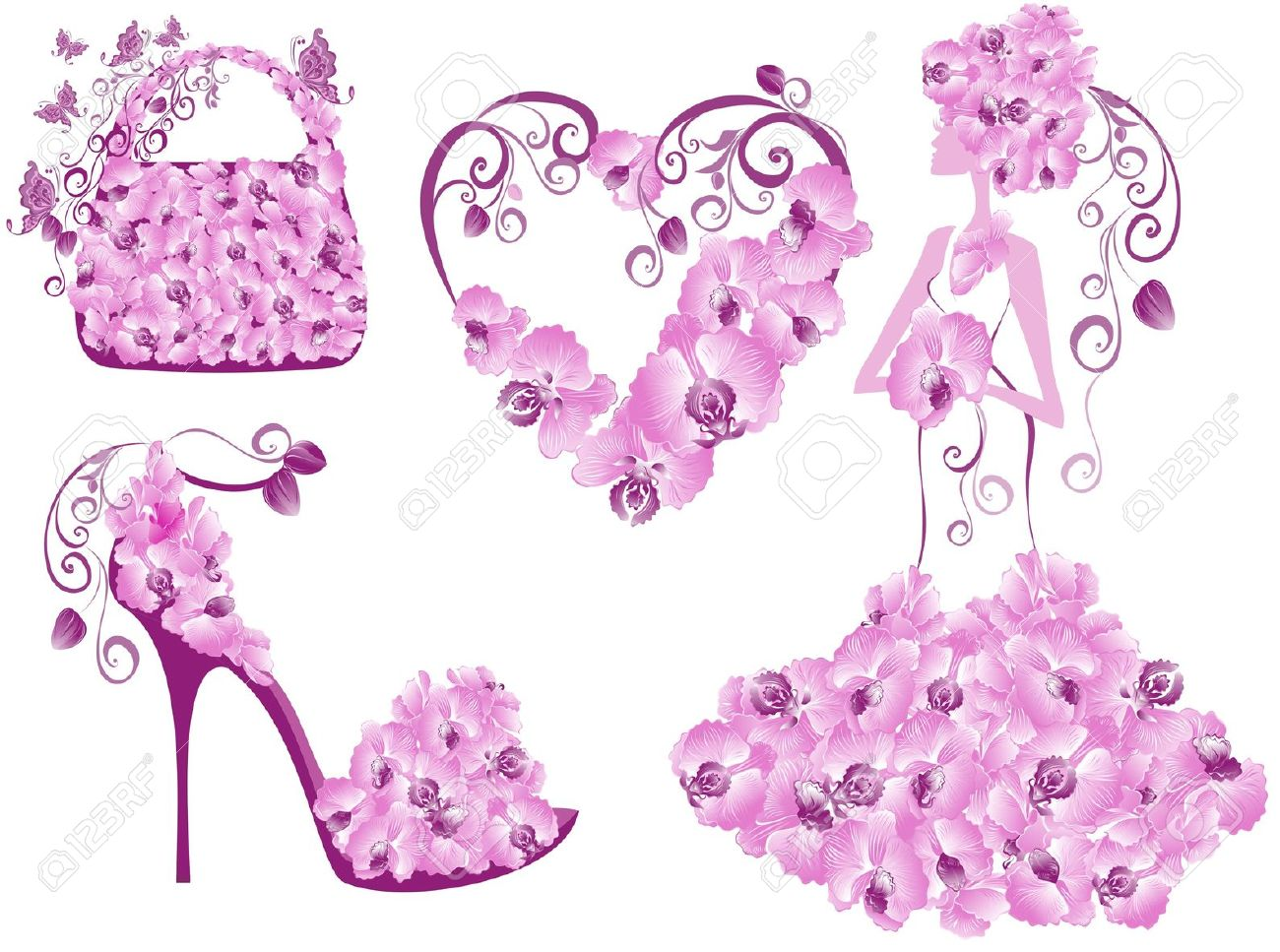 Fashion Women Accessories Collection Royalty Free Cliparts.