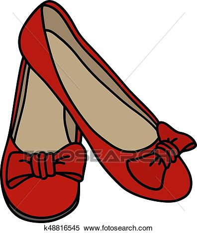 Red low women shoes Clipart.