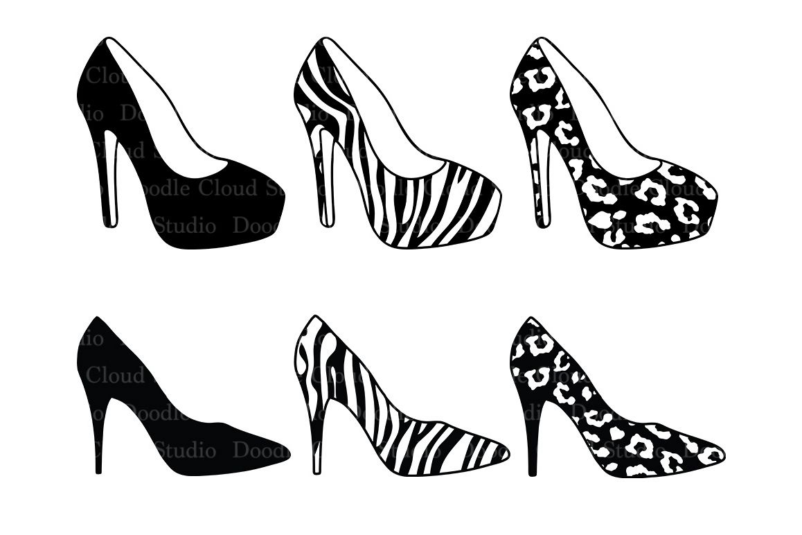 Women's high heel shoes SVG files for Silhouette Cameo and Cricut. l  Leopard shoes Zebra shoes SVG. Shoes clipart PNG included.