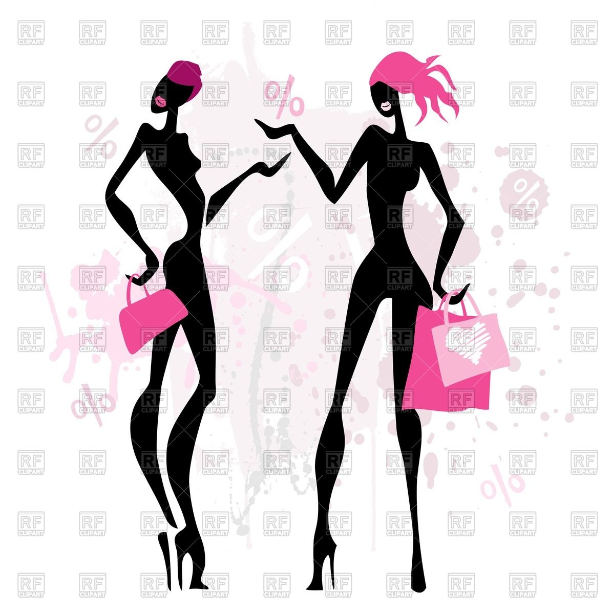Silhouettes of women with shopping bags Stock Vector Image.