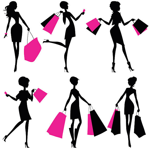 Best Woman Shopping Illustrations, Royalty.
