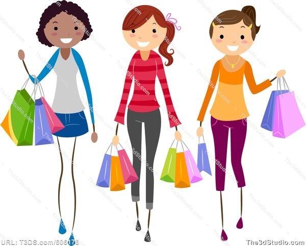 Women Shopping Clip Art.