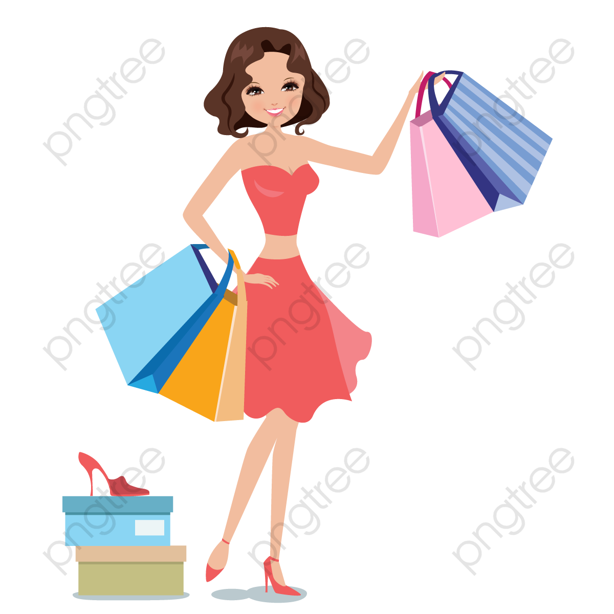 Women Shopping Vector, The Mall, Paper Bags, Try PNG and.
