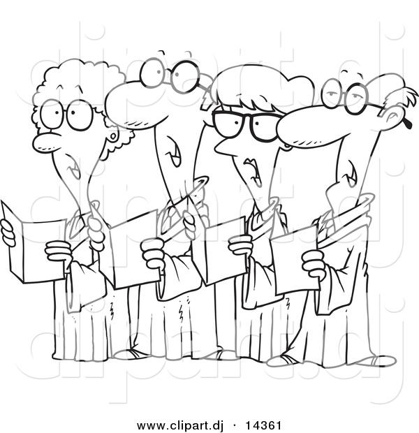 Vector of Cartoon Choir with 4 Senior Men and Women Singing.