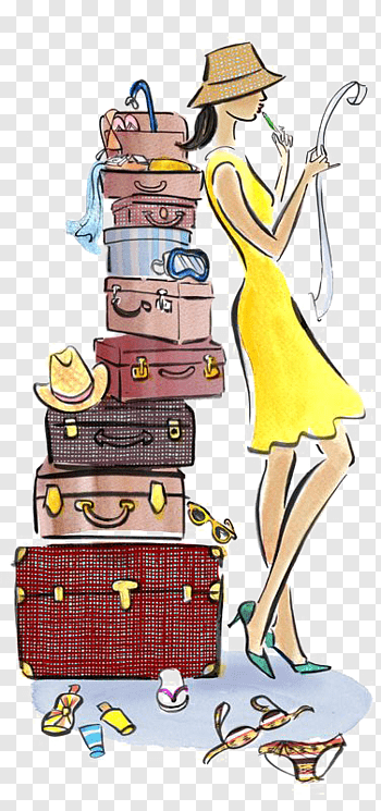 Woman looking map while sitting on luggage illustration.