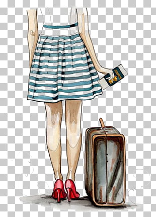 Travel Suitcase Drawing Illustration, travel, woman looking.