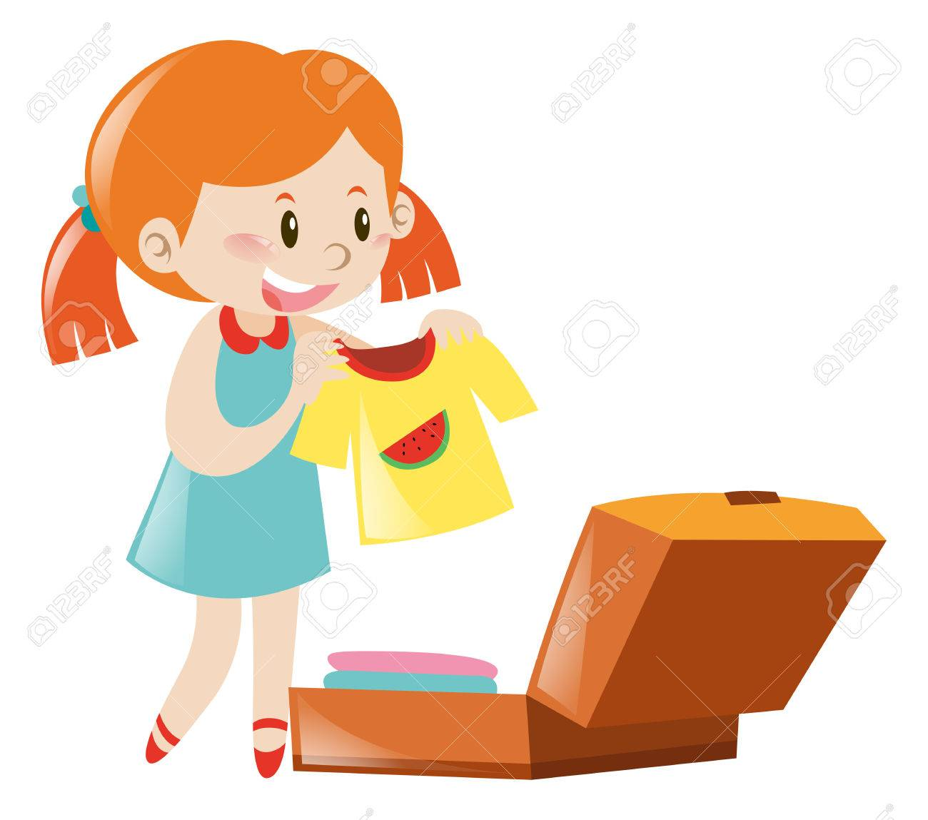 Girl With Suitcase Clipart.