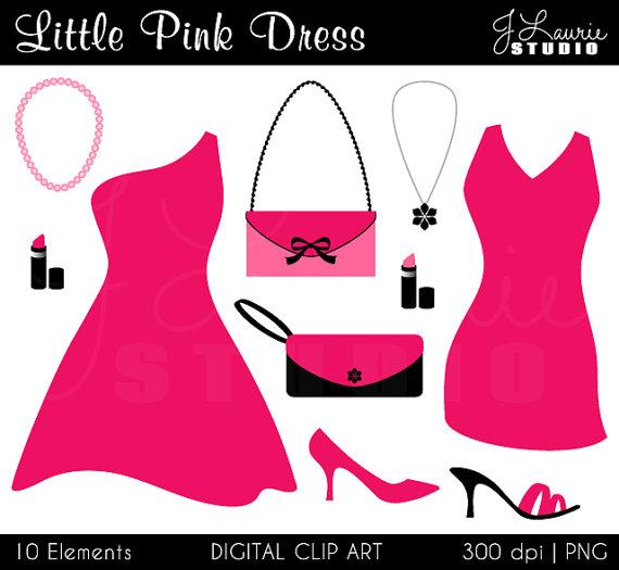 Little Pink Dress Digital Clipart.