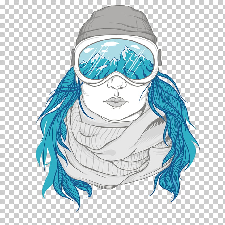 Snowboarding Illustration, Winter influx of women PNG.