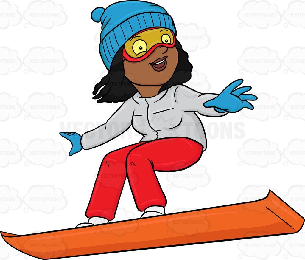 A Black Woman Basking In Merriment While Snowboarding.