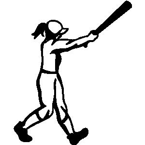 Girl baseball clipart.