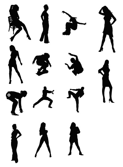 Women and sports figures silhouette, Cliparts.