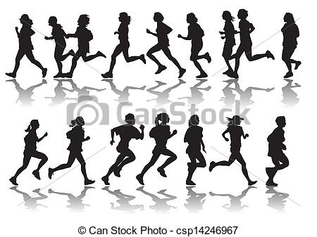 Clip Art Vector of running women.