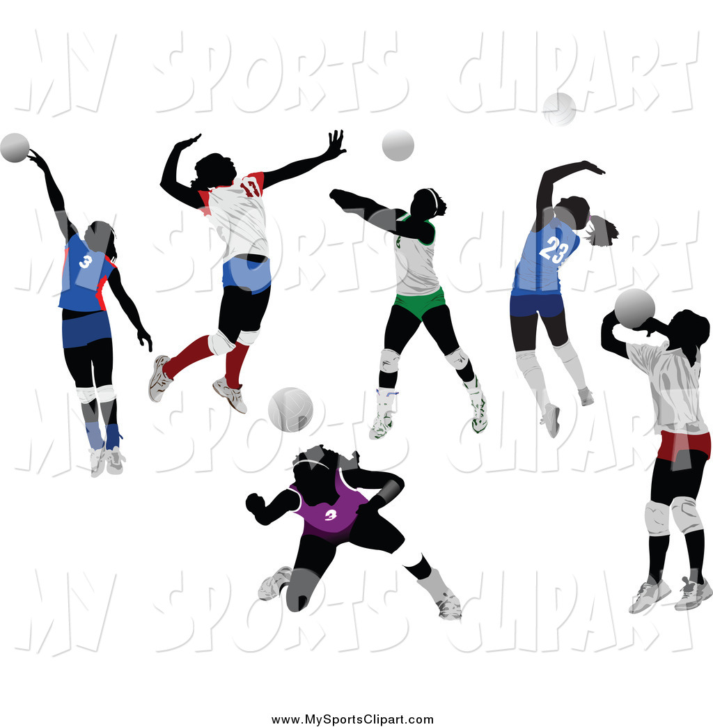 Sports Clip Art of Faceless Women Playing Volleyball by leonid.